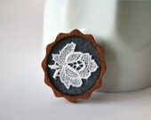 White Lace Flower on Slate Grey Brooch, Lace and Mahogany Series - lesalikes