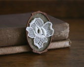 Pale Cream Vintage Lace Flower on Coffee Brown Felt Wooden Brooch, Lace and Mahogany Series