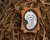 Vintage White Lace on Slate Grey Felt Wooden Brooch, Felt and Mahogany Series