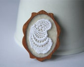 Crisp White Vintage Lace on Cream Brooch, Lace and Mahogany Series