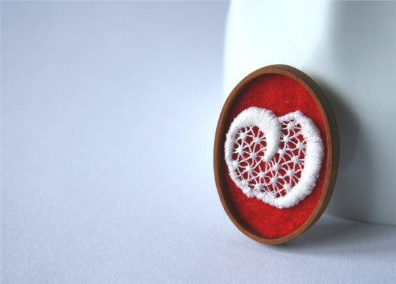 White Lace on Red Brooch, Lace and Mahogany Series