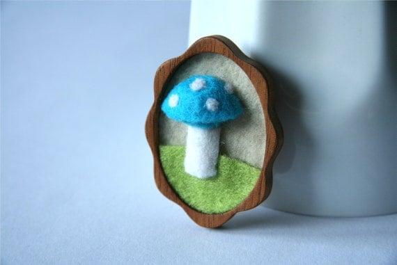 Blue Woodland Mushroom, Mahogany and Felt Brooch