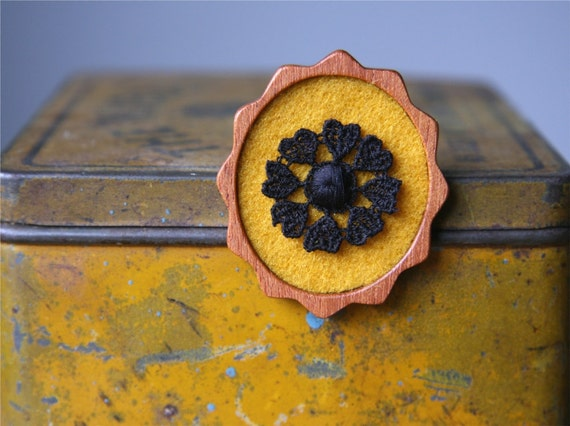 Black Vintage Lace Wheel of Hearts on Yellow Mustard Felt Wooden Brooch, Lace and Mahogany Series