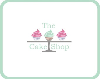 Cupcake logo for a cake shop in pastel shades