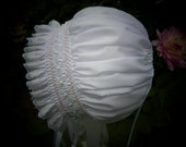 Newborn Bonnet with Pearls and Pink and White smocking