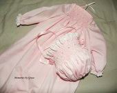 Newborn Pink Day Gown and Bonnet set