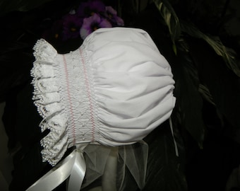 CLEARANCE - 12 Month white and pink  Bonnet