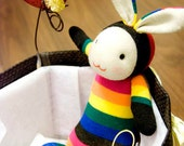 SOLD. Mali Sock Doll - Rabbit - Rainbow Miffy