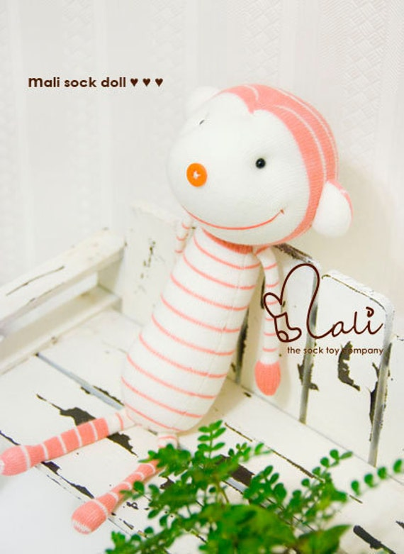 "Mali Sock Doll, Sock Monkey, Baby Safe Peach Pink Stripes White Sock Toy, ""Peaches"""