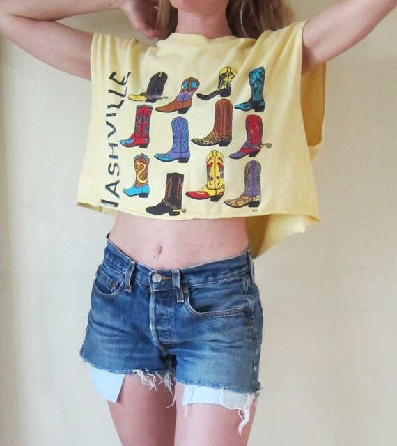 Vintage Yellow Women's Nashville Cut Off CowBoy Boot Tshirt