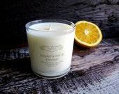 SANDALWOOD & SATSUMA ORANGE Coconut Wax Candle Organic Essential Oils 10 oz.