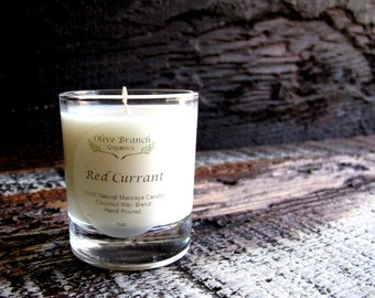 VOTIVE Candle Coconut Wax Massage Candle with Essential oils All natural Organic RED CURRANT