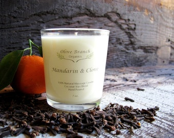 Organic Candle MANDARIN & CLOVE Vegan Coconut Wax Candle Essential Oils All Natural 7 oz.