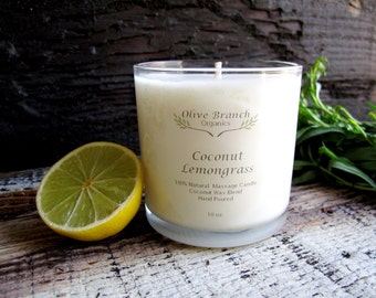 Organic Candle COCONUT LEMONGRASS Coconut Wax Candle Essential Oils Natural 10 oz.