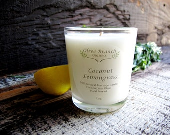 Organic Candle COCONUT LEMONGRASS Coconut Wax Candle Essential Oils All Natural 7 oz.