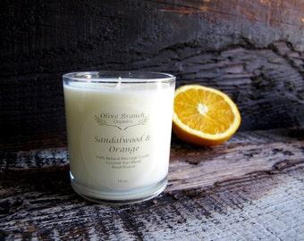 Large Organic Candle SANDALWOOD & SATSUMA ORANGE Coconut Wax Candle Natural 10 oz.