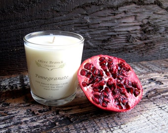 Organic Candle POMEGRANATE Coconut Wax Candle Essential Oils All Natural 7 oz.