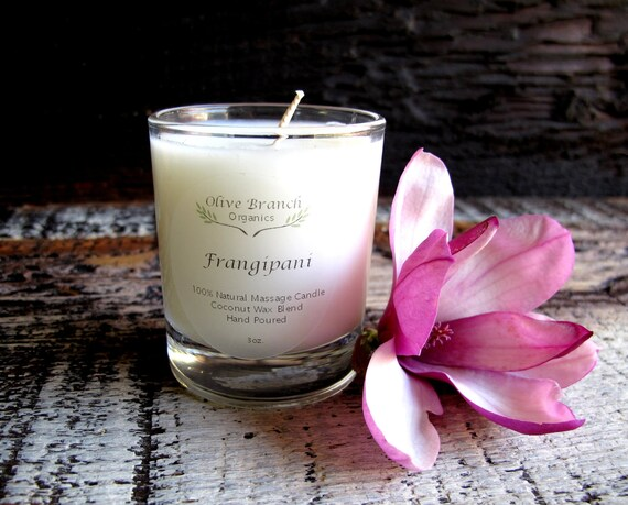 VOTIVE Candle Coconut Wax Massage Candle with Essential oils All natural Organic FRANGIPANI flower