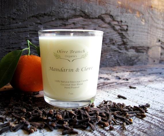 Organic Candle MANDARIN & CLOVE Vegan Coconut Wax Candle Essential Oils All Natural 7 oz.