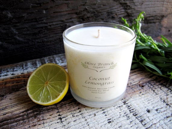 COCONUT LEMONGRASS Candle Organic Coconut Wax candles Natural 10 oz.