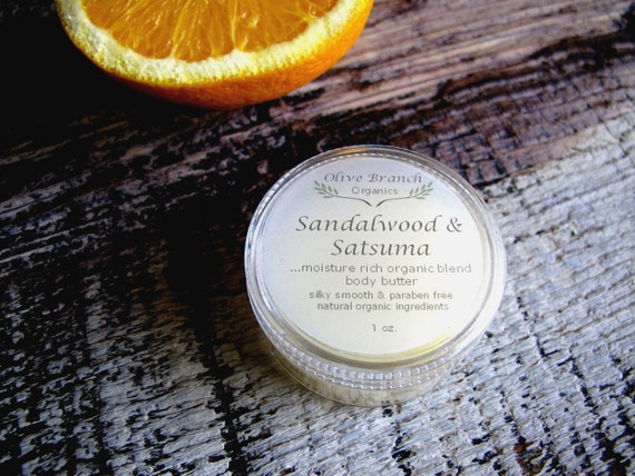 Body Butter travel size SANDALWOOD & SATSUMA ORANGE Organic All Natural skin care Essential Oils 1 oz.