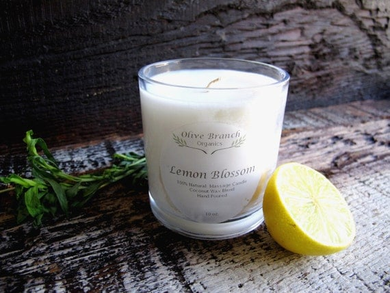 Organic Candle LEMON BLOSSOM Coconut Wax Essential Oils All Natural 10 oz.