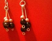 Three tier dangle beaded earrings