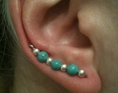 Turquoise and silver ear pins, ear sweeps, ear vines