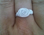White colored copper rose ring