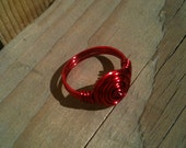 Red colored copper rose ring