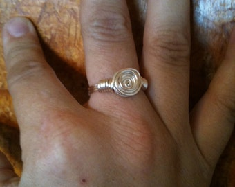 silver rose wire wrapped ring, silver ring, wrapped ring, rosette ring, silver rosette ring, wire wrapped, hand made, ring