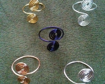 Spiral toe rings, set of 5, toe ring set, toe rings, silver, copper, pink, purple, gold, wire toe rings, handmade,