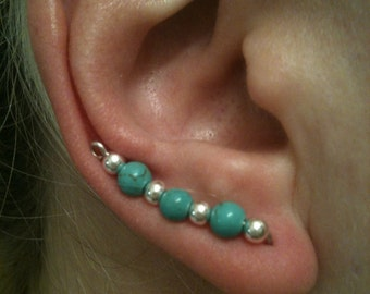 Turquoise and silver ear pins, ear sweeps, ear vines, turquoise, silver, handmade, earrings, ear climbers, silver wire, beads