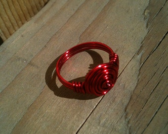 Red colored copper rose ring, wire ring, red ring, rose ring, rosette ring, wrapped ring, wire wrapped ring, select a size, ring