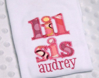 Instant Download . Lil Sis - Little Sister - Classic Applique Embroidery Design - 2 Sizes