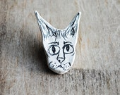Samson. Unique Clay Sphynx Cat Head Brooch Pin. Hand Illustrated.