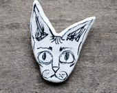 Friederic. Unique Clay Sphynx Cat Head Brooch Pin. Hand Illustrated.
