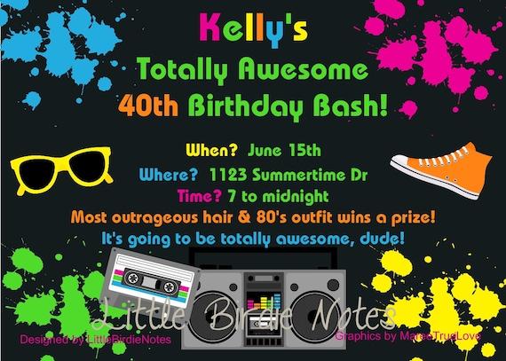 80's NeonTotally Awesome Birthday Invite-Casbury Lane
