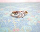 Vintage Rhinestone Ring, 14 Ktge