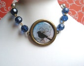 Bird Necklace, Blue Beads