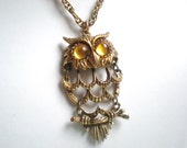 Vintage Owl Necklace, Gold, Yellow Eyes