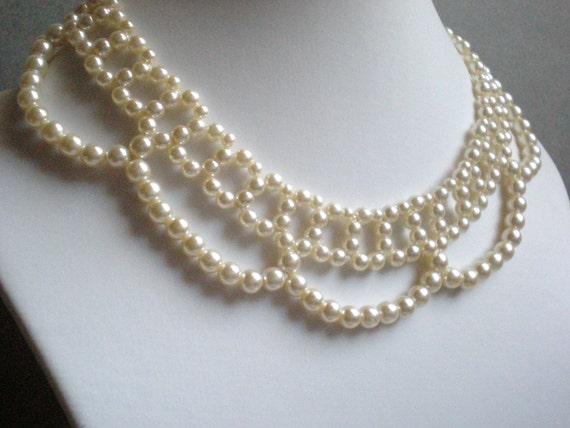 Vintage Pearl Necklace, Bridal, Statement, Bib, Bride