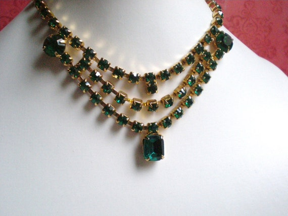 Vintage Rhinestone Necklace, Green Bib