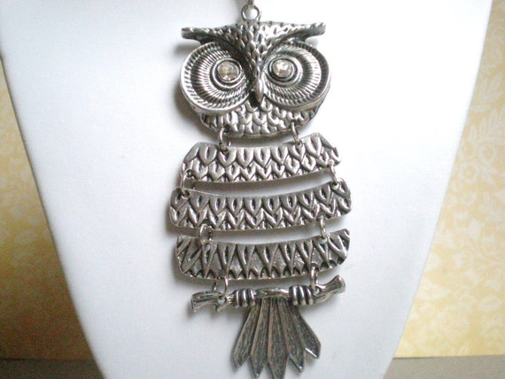 Vintage Owl Necklace, Silver, Rhinestone Eyes