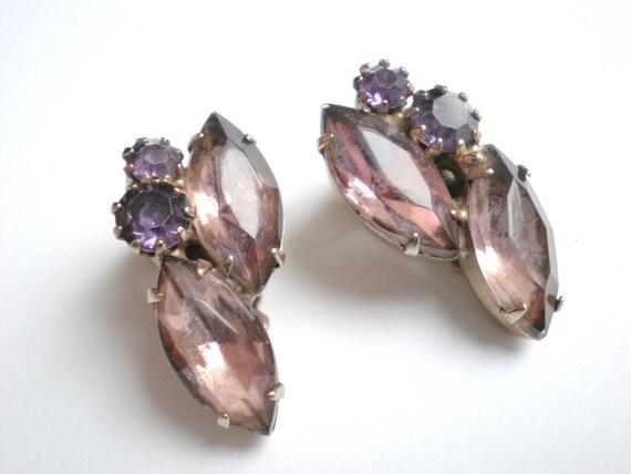 Reserved for Karin,  Vintage Rhinestone Earrings, Pink, Purple