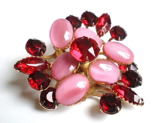Vintage Rhinestone Brooch, Red, Pink