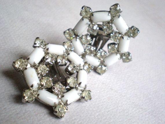 Rhinestone Earrings, Vintage, Milk Glass, Clear