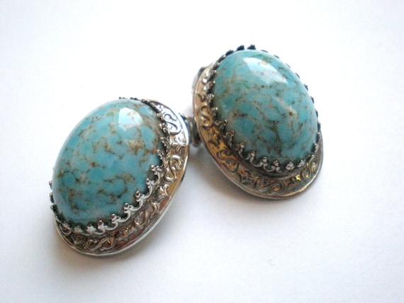 Vintage Turquoise Earrings, Silver