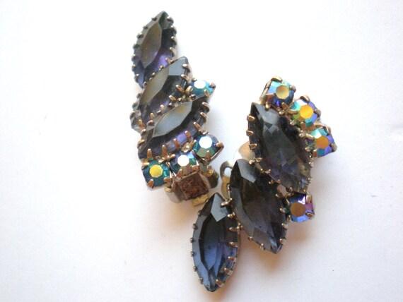 Vintage Rhinestone Earrings, Blue, Aurora Borealis