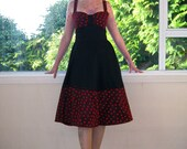 Black Rockabilly Dress with Red Polka Dot Tulle 1950's style - custom made to fit